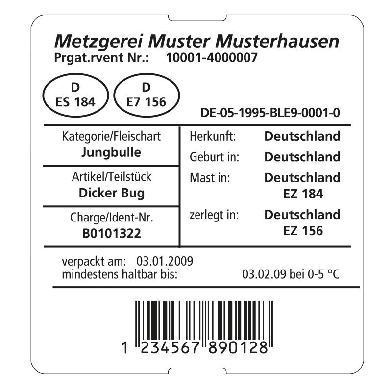 Fleischeinleger ungummiert, 76 x 82 mm, weiß, 3 Rollen à 1.000 Etiketten