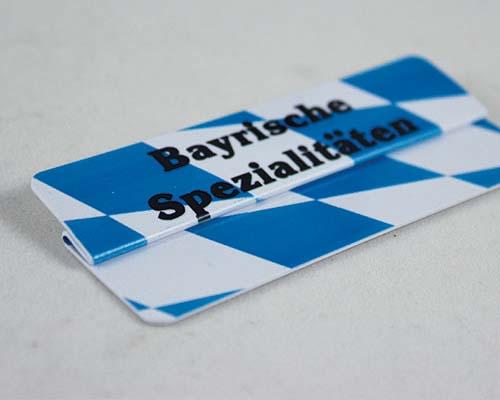 """Aktionsreiter, 86 x 18 mm, """"Bayrische Spezialitäten"""", 10 Stück pro Pack"""