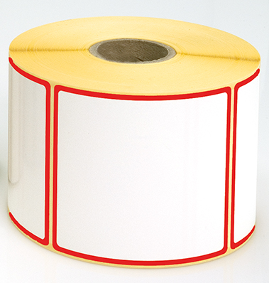 Etiketten, 115 x 40 mm, Rand rot, 3 Rollen à 1.000 Etiketten