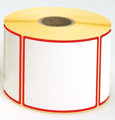Etiketten, 115 x 50 mm, Rand rot, 3 Rollen à 1.000 Etiketten