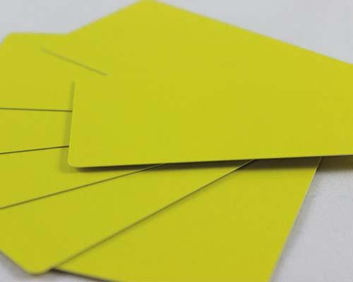 Plastikkarten, 86 x 50 x 0,50 mm, gelb, 100 Karten pro Pack