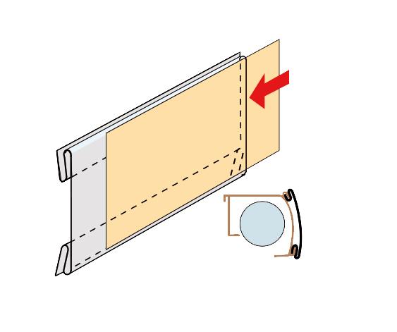 Acryl-Preisschienenhalter, 86 x 54 mm, Version 8-Nutstecker, 10 Stück pro Pack