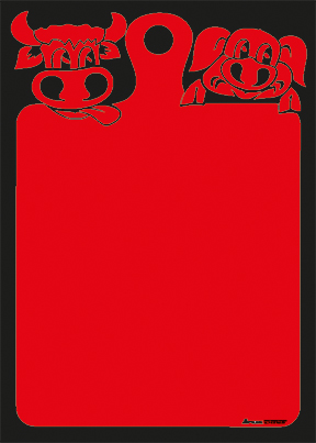 "Plakat ""Ochse+Schwein"", DIN A1, rot, 50 Plakate pro Pack"