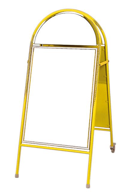 Magnet-Plakatständer Omega mit 2 Rädern, DIN A1, gelb