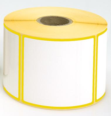 Etiketten, 115 x 40 mm, Rand gelb, 3 Rollen à 1.000 Etiketten