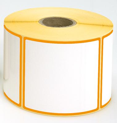 Etiketten, 115 x 50 mm, Rand orange, 3 Rollen à 1.000 Etiketten