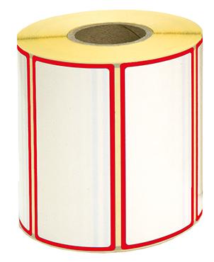 Etiketten, 100 x 50 mm, Rand rot, 3 Rollen à 1.000 Etiketten