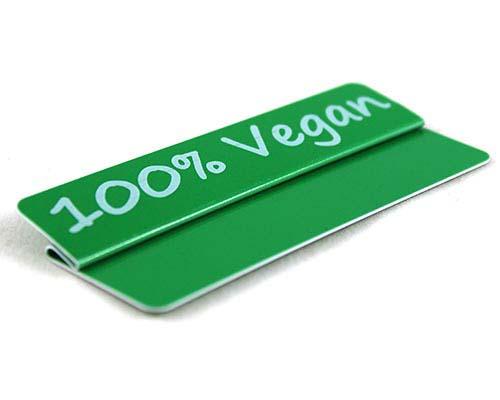 "Aktionsreiter, 86 x 18 mm, ""100% Vegan"", 10 Stück pro Pack"