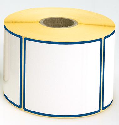 Etiketten, 115 x 50 mm, Rand blau, 3 Rollen à 1.000 Etiketten